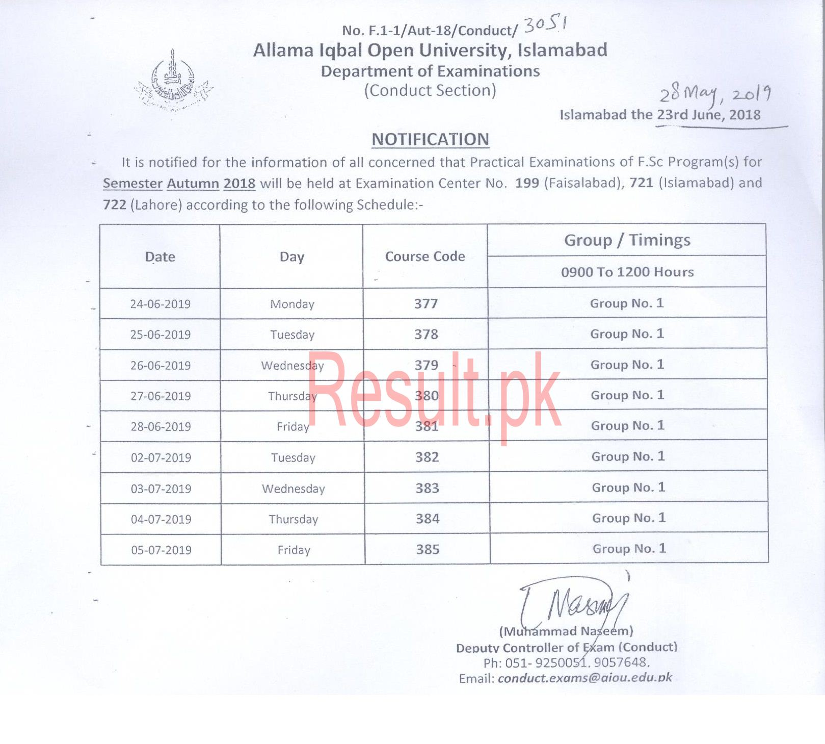 Allama Iqbal Open University Date Sheet 2019 aiou Annual