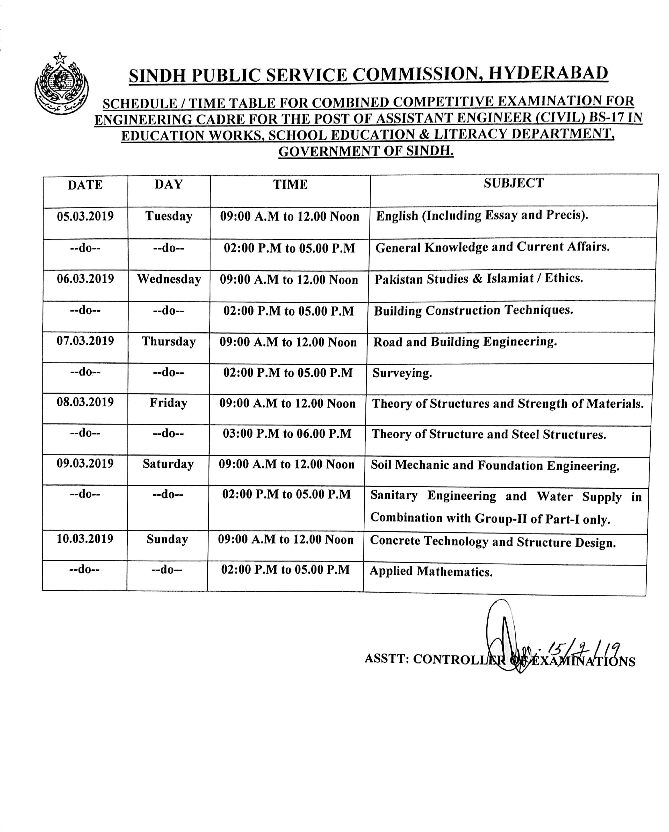 Sindh Public Service Commission Date Sheet 2019 spsc Annual