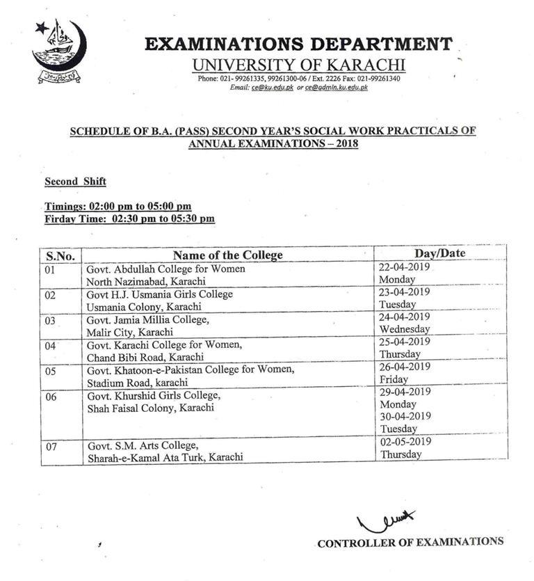 University of Karachi Date Sheet 2019 uok Annual Supply