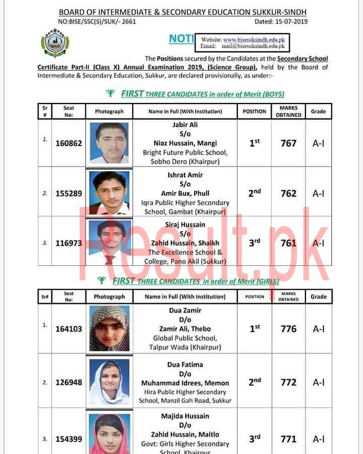 10th Class Result 2019 BISE Sukkur Board bisesuksindh Online