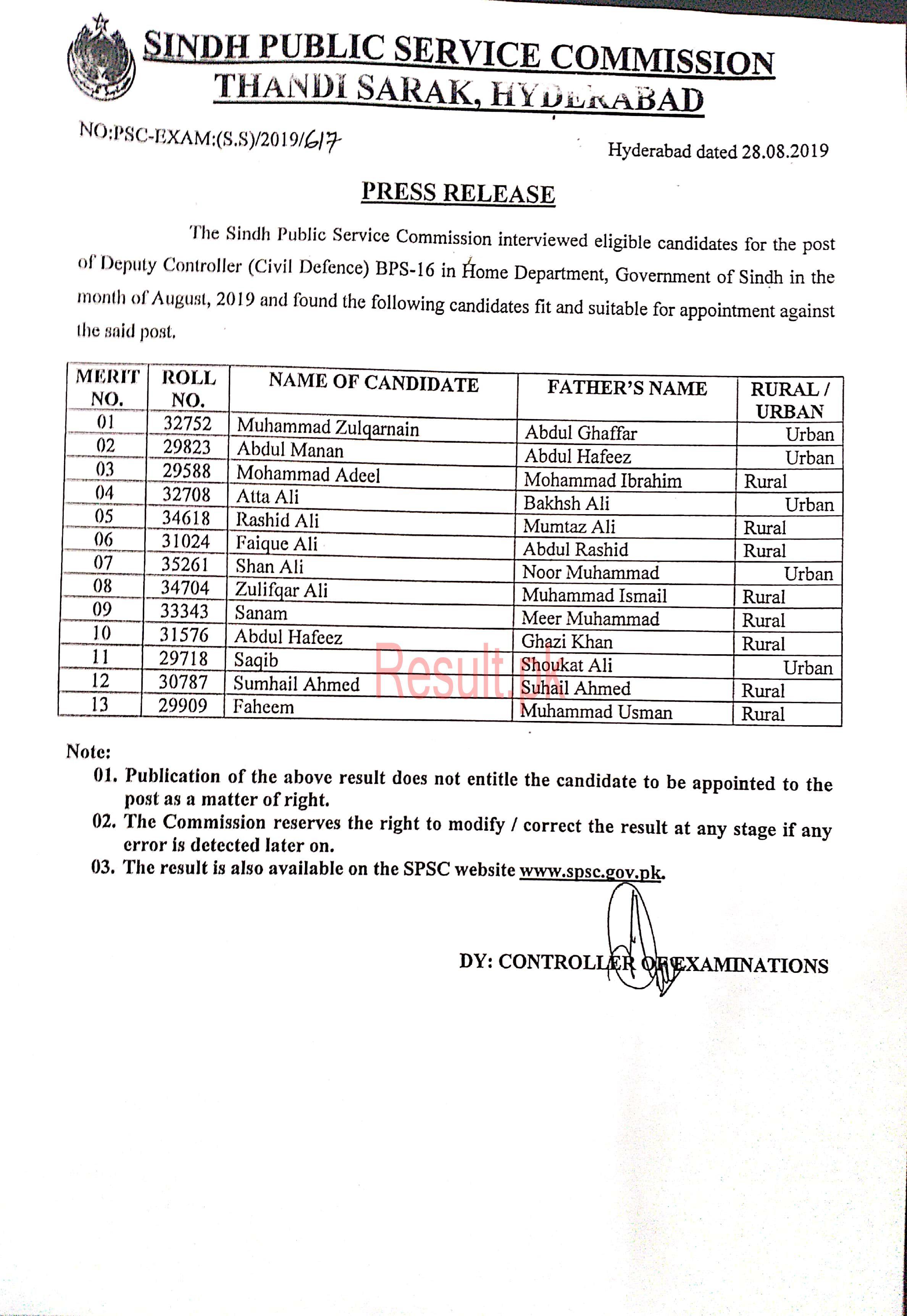 Sindh Public Service Commission Result 2019 spsc Results Online