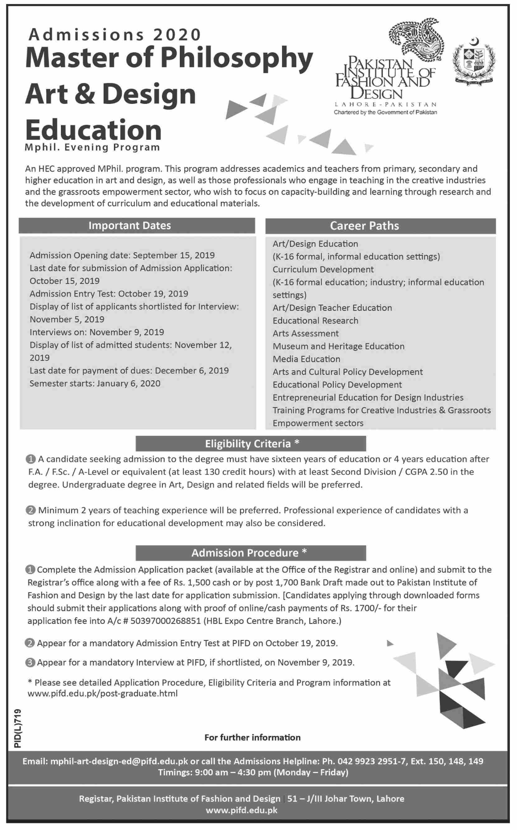Pakistan Institute F Fashion Design Ma Admissions 2019 Result Pk