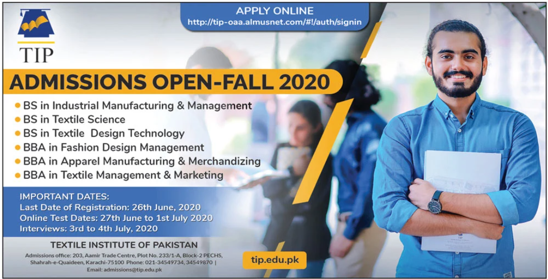 Textile Institute Of Pakistan Bs Bba Admissions 2020 Result Pk